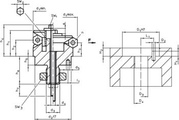 Centrujące elementy do mocowania z elementami mocujacymi, sterowane od dołu  IM0007795 Zeichnung pl