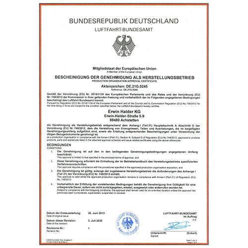 Zulassung als Herstellungsbetrieb durch das Luftfahrtbundesamt nach EASA Part 21G